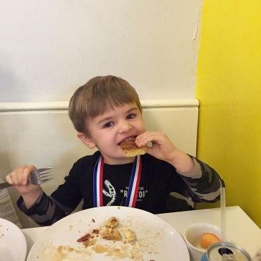 Spoiled rotten: Henry at brunch