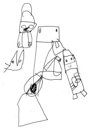 """Henry's version of Picasso's """"Three Musicians"""""""