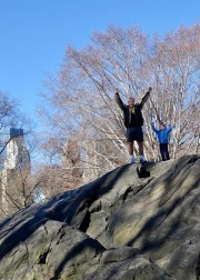 Summiting a Central Park rock