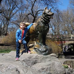 Henry with Balto statue in Central Park