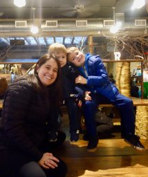 Rachael and boys at Ganesvoort Market.
