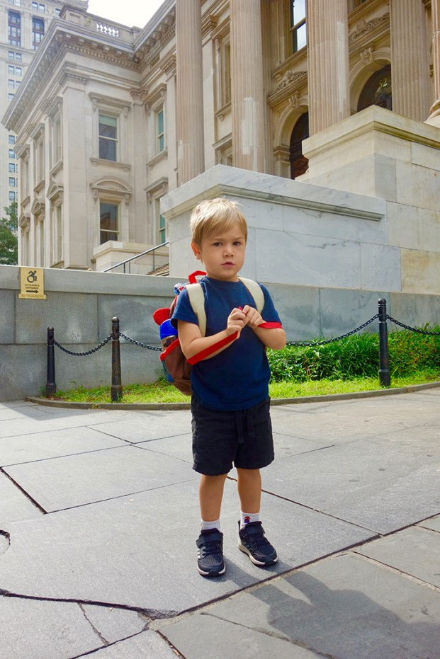 Quin's first day of Pre-K at City Hall